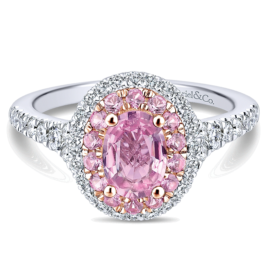 0.66 ct - Pre-Set Engagement Ring 14k White & Pink Gold Diamond Pink ...