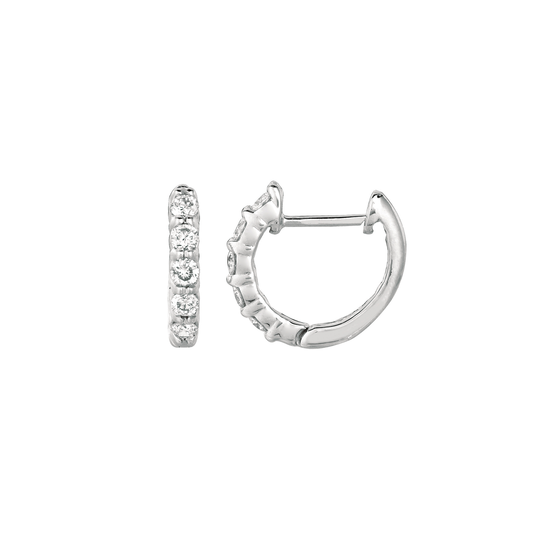 0 33 ct G H SI2 Diamond hoop earrings Set In 14K White Gold E5281 33W