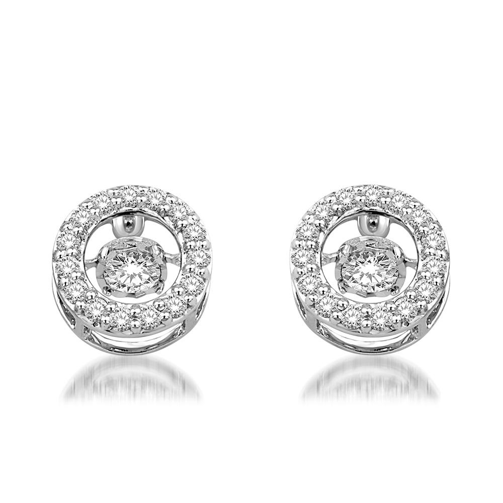 14k White Gold 9 10 Ct Tw Moving Diamond Earrings